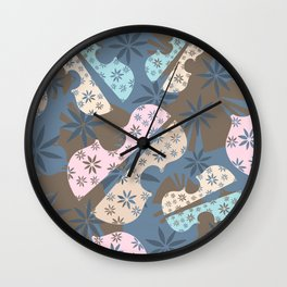 Flower Cello Violin Viola Pattern in blues and pinks Wall Clock