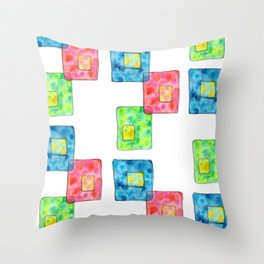 LIVE LOVE LAUGH geometric pattern illustration Watercolor Painting minimalism typography Throw Pillow