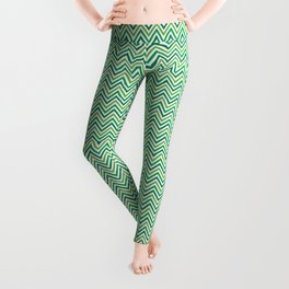 Saint Patricks Day Green Chevron Pattern Leggings