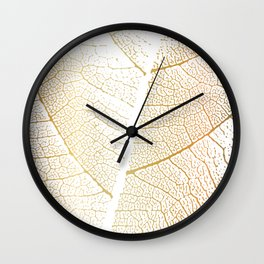 Gold Leaf Skeleton Tropical Abstract Botanical Boho Luxury  Wall Clock