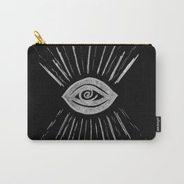 Evil Eye Silver on Black #1 #drawing #decor #art #society6 Carry-All Pouch