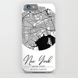 New York Area City Map, New York Circle City Maps Print, New York Black Water City Maps iPhone Case