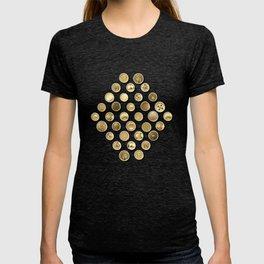 Gold Buttons Pattern T-shirt