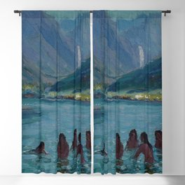 Woman Night Swimming at Blue Lagoon Swimming Hole, Hawaii landscape painting by Lionel Walden Blackout Curtain