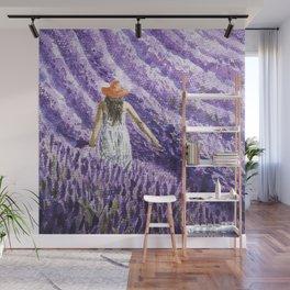Girl on Lavenders Field Wall Mural