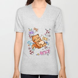 lazy cat chilling sweets Unisex V-Neck