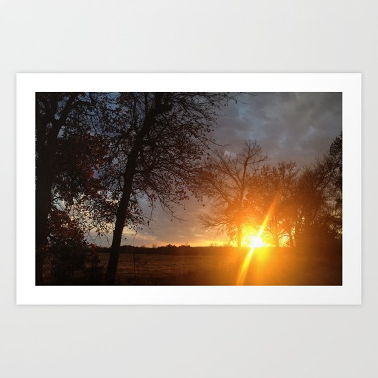 Sunset in the sticks  Art Print