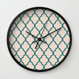 Classic Quatrefoil Lattice Pattern 827 Jade Green and Beige Wall Clock
