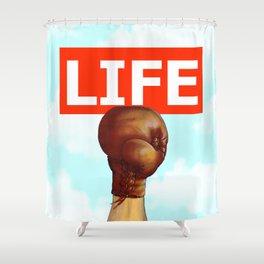 kick life back Shower Curtain
