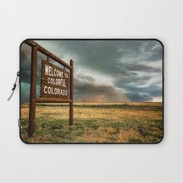 Colorful Colorado - Storm Advances Past Colorado State Line Sign Laptop Sleeve