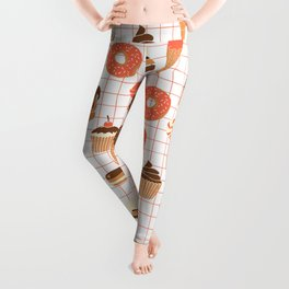 Cute Sweets, Pies, Cakes, Donuts, Eclairs and Pancakes in red and brown Leggings