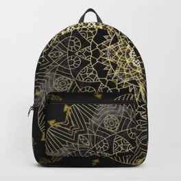 Bohemian Gold Brushed Mandala design Backpack