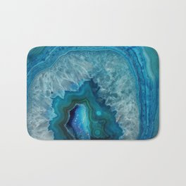 Blue agate marble faux druse crystal quartz gem gemstone geode mineral stone photograph hipster Bath Mat