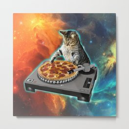 Cat dj with disc jockey's sound table Metal Print