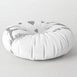 Zombies in Love Gray Floor Pillow