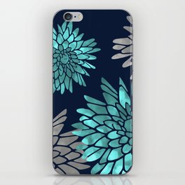 Floral Chrysanthemum Modern Navy Aqua iPhone Skin
