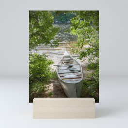 Canoe by the Lake Mini Art Print
