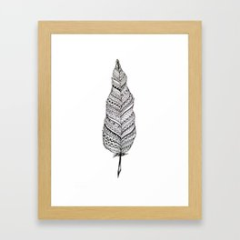 Aztec black and white feather Framed Art Print