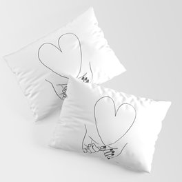 Pinky Promise His and Hers Romantic Love Illustration Pillow Sham