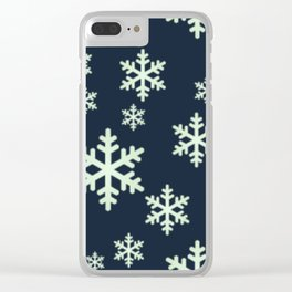 White Snowflakes w/Dark Blue Background Clear iPhone Case