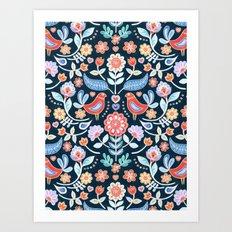 Happy Folk Summer Floral on Navy Art Print