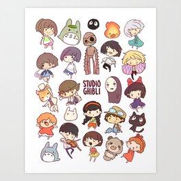 Studio Ghibli - Chibi Characters Art Print