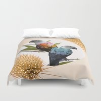 sia Duvet Covers featuring Sun Conure Parrots by Kangarui by Rui Stalph