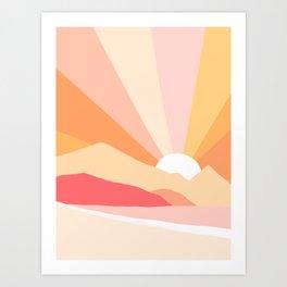 Sunny Coastal Retro Rainbow Art Print