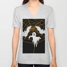 Bats and Ghost white - black color Unisex V-Neck