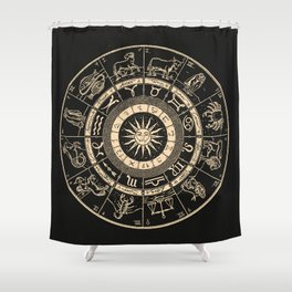Vintage Zodiac & Astrology Chart   Charcoal & Gold Shower Curtain