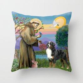 Saint Francis Blesses a Bernes Mountain Dog Throw Pillow