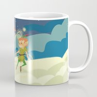 neverland Mugs featuring Off to Neverland! by Kelly Kates