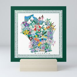 Wisconsin Wildflowers with border Mini Art Print