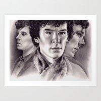 sherlock Art Prints featuring Sherlock by KatePowellArt
