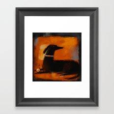 BLACK DOG ON ORANGE Framed Art Print