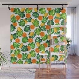 Oranges Lemons Monstera White Wall Mural