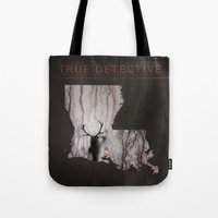true detective Tote Bags featuring True Detective Map by Roadtrippers