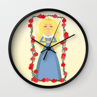 sleeping beauty Wall Clocks featuring Sleeping Beauty by Sara Showalter