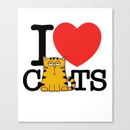 I Love (Heart) Cats Canvas Print