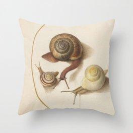 Naturalist Snails Throw Pillow