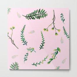 Greenery Pink Background Metal Print