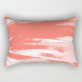 Coral abstract brush strokes Rectangular Pillow