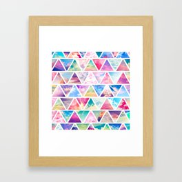 Pink Clouds Teal Sky Abstract Triangles Pattern Framed Art Print