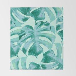 Tropical Monstera Leaves Dream #4 #tropical #decor #art #society6 Throw Blanket