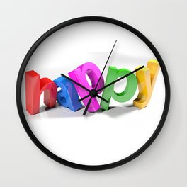 Colorful happy 3D write - 3D rendering Wall Clock
