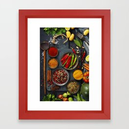 Fresh delicious ingredients for healthy cooking  on rustic background Framed Art Print