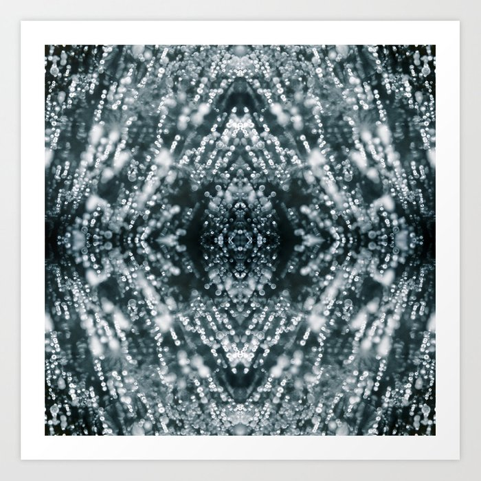 Beautiful Silver sparkles Frozen Ice bubbles Mandala Art Print