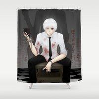 tokyo ghoul Shower Curtains featuring Kaneki Tokyo Ghoul 2 by Prince Of Darkness