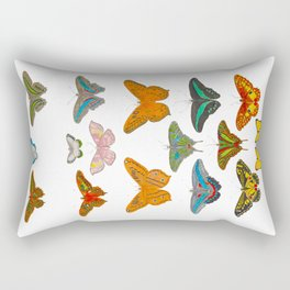 Vintage Scientific Illustration Of Colorful Butterflies Rectangular Pillow