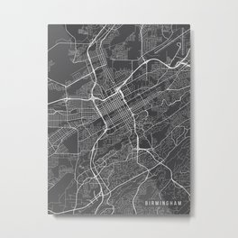 Birmingham Map, Alabama USA - Charcoal Portrait Metal Print